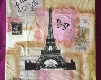 12x16 Mixed Media Canvas Original -Paris theme with pinks and golds