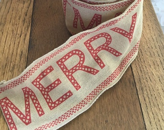 "4"" Merry Christmas Linen Ribbon (Wired)"