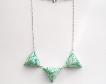 Triple Triangle Necklace - Light Green