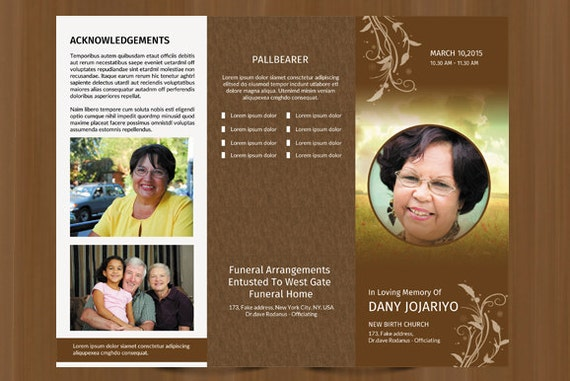 Trifold Funeral Program Template | Obituary Program Template | Photoshop,  Ms Word And Mac Page Template | Instant Download  Fp 010  Download Funeral Program Templates