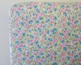 Floral Crib Fitted Sheet, Pink and blue flowers, Shabby Chic Baby Bedding, Girl nursery, Toddler Bed Sheet