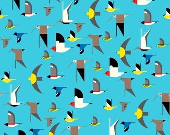 KNIT Fabric: Birch Maritime Birds Organic Interlock Knit. Sold by the 1/2 yard.