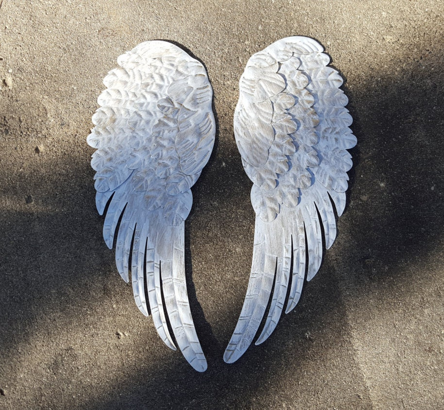 Large angel wings metal angel wings wall decor by for Angel wall decoration