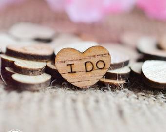 "100 I Do Wood Hearts 1/2"" - Rustic Wedding Decor - Table Confetti - Wooden Hearts - Wedding Invitations"