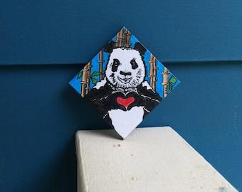 "4 x 4 ""Panda Love"" Mini Canvas"