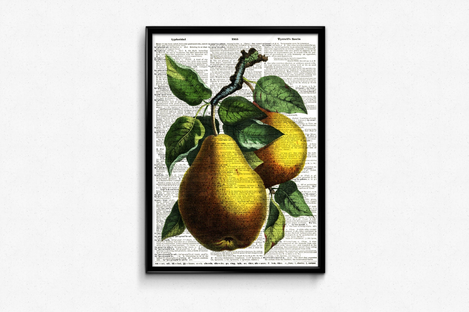 kitchen decor fruit print pears poster by moltenprints on etsy