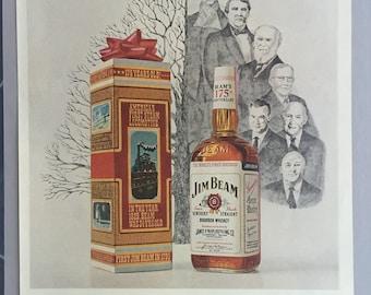 1970 Jim Beam Bourbon Whiskey Print Ad  - Christmas Ad