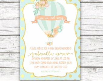 Hot Air Balloon Baby Shower Invitation, Gold Foil Mint And Peach Floral Baby  Shower Invite