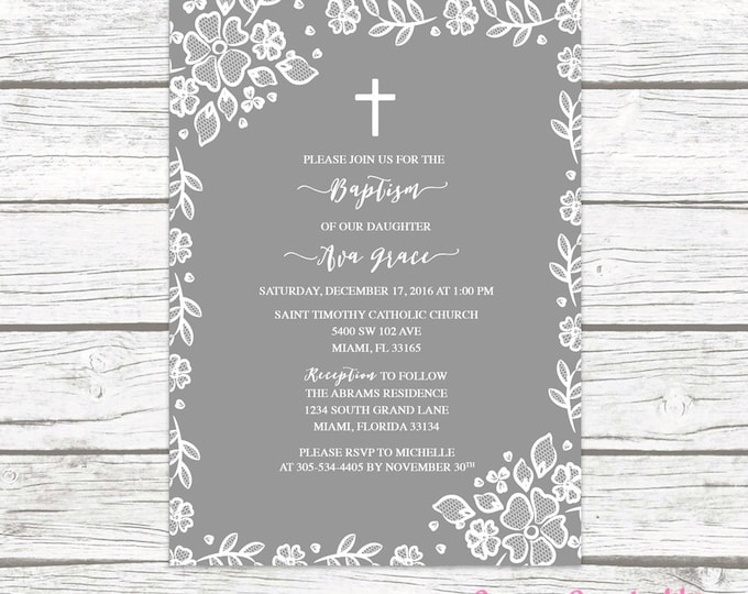 Gray White Lace Border Floral Baptism Christening Invitation, Girl First Communion Boho Vintage Cross Invite, Rustic Printable Invitation