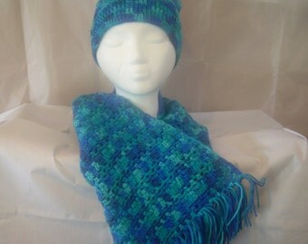 Blue and green crochet hat and scarf set