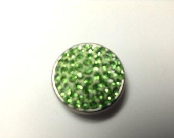 1- 18mm Lime green jeweled Snap Button
