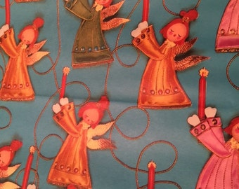 VERY RARE Vintage Christmas Wrapping Paper England Denmark Angels Flowers Wilson Lot of 2