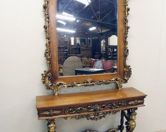 Rare French Antique Console Entry Foyer Mirror Stunning Gold Cherubs a Masterpiece #4907