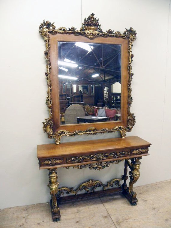 Gold Foyer Mirror : Rare french antique console entry foyer mirror stunning gold