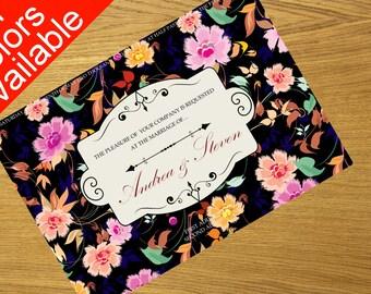 Wedding invitation template, download party invitation design, printable baby shower invitation 7x5 inches 001-007