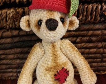 Brown Bear. Handmade. Amigurumi. Gift for children. Cherry cap.