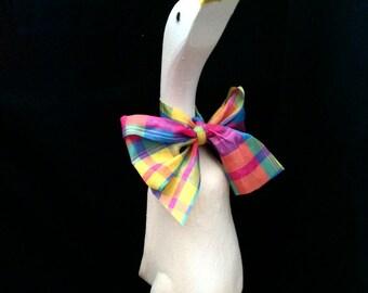 White Tartan Wooden Duck