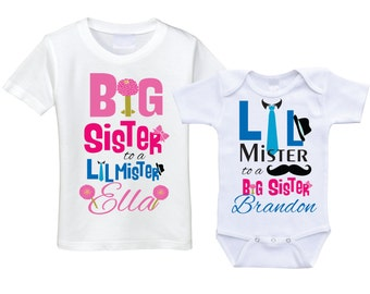 Personalized Big sister Little brother shirts matching sibling shirts big sis lil bro sibling shirt set matching brother sister outfits