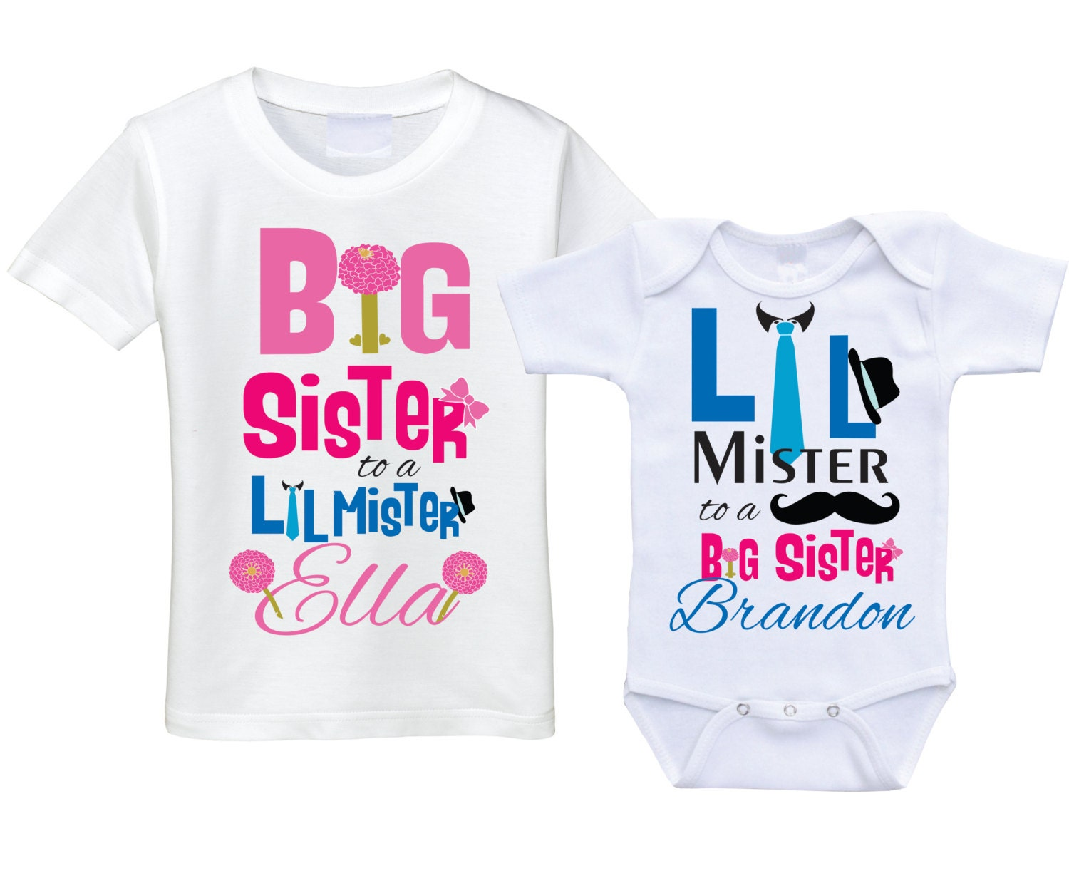 Personalized Big sister Little brother shirts matching sibling
