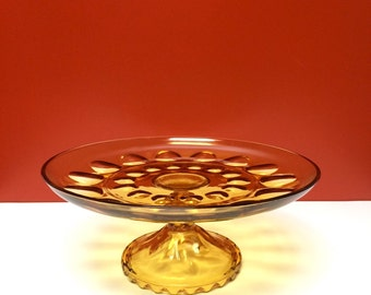 Indiana Glass Amber Thumbprint Cake Stand