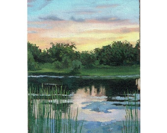 Landscape Oil Painting,  Original Oil Painting, Marsh Oil Painting, Lake Painting, Sunset Painting, Skyscape Painting, Clouds Painting