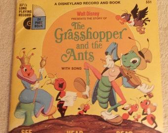 Disneyland Record and Book-The Story of The Grasshopper and the Ants-1968