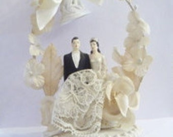 Antique Wedding Cake Topper Bride and Groom Bell Florals Leaves Bow
