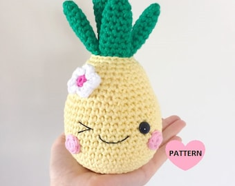 Happy Pineapple PDF Pattern, amigurumi, crochet