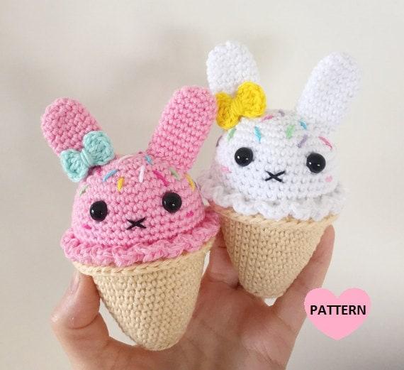 Mini Ice Cream Amigurumi : Bunny Ice Cream PDF Pattern amigurumi crochet