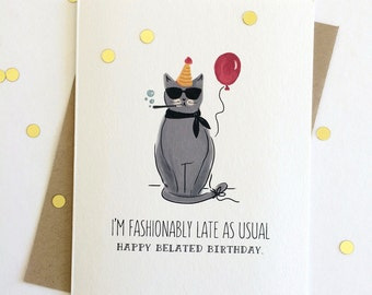 Fashionably Late Birthday Cat // Funny Belated Birthday Whimsical Red Balloon Hand Lettered Gray White // Folded Card by Paper Pony Co.