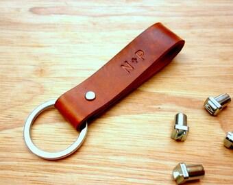 Personalized Couple Leather Keychain - Custom Anniversary Date Key Fob - Personalized Anniversary Gifts - Wedding Gift - Valentines (2 pcs)