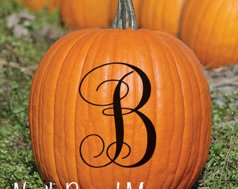 6 inch Pumpkin monogram decal