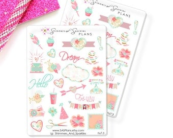 DREAMY FLORAL Decorative Planner Stickers for use in Erin Condren Life Planner, Personal Planners, Travelers Notebook Inserts S7.3