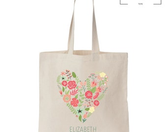 Flower Heart Tote - Custom Name - Bridal Party Gift