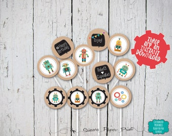 Retro Robot Party Cupcake Toppers, First Boy Birthday Party decorations, Kraft like paper decorations. Party Circles, party decorations