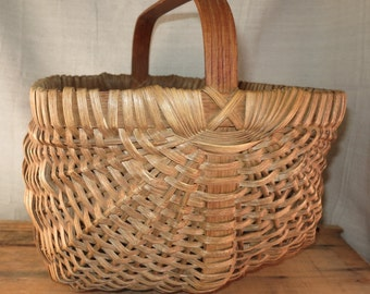 Primitive Gathering Basket Vintage Woven Splint Basket Farmhouse Basket