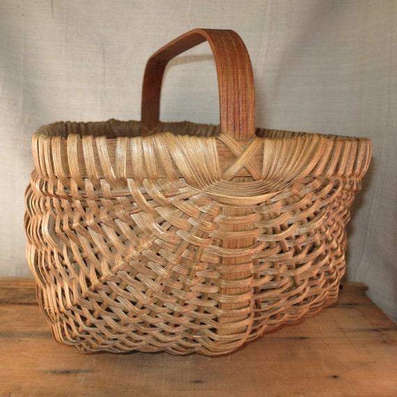 Woven Gathering Basket : Primitive gathering basket vintage woven splint
