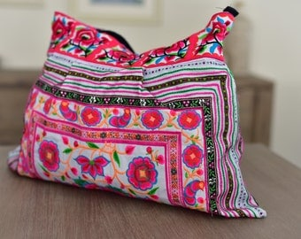 Floral Shoulder Bag - White & Pink