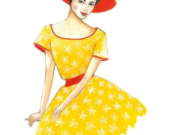 Fashion illustration print, print from original fashion illustration print, Woman in yellow dress