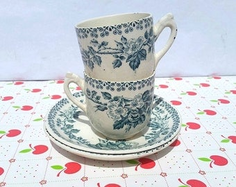 Set of 2 cups and 2 saucers Terre De Fer/ French Vintage Ironstone / Blue /