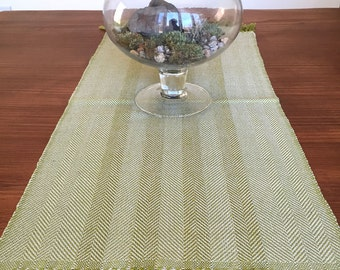 Herringbone table runner handwoven in green and taupe cotton