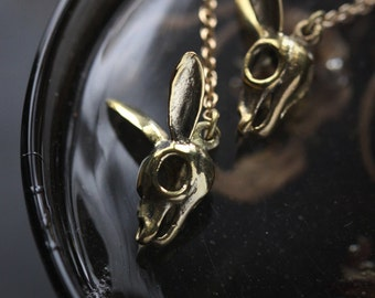 Rabbit Skull with chain Earrings By Defy / Rabbit Skeleton Jewelry / Unique Handmade Jewelry