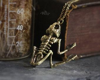 Frog Skeleton Charm Necklace by Defy - Original Handmade Jewelry