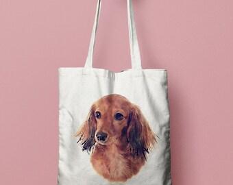 Custom Dog Portrait Tote Bag - 100% Cotton - Personalised Shopping Bag - Christmas Gift - Watercolour Dog Painting