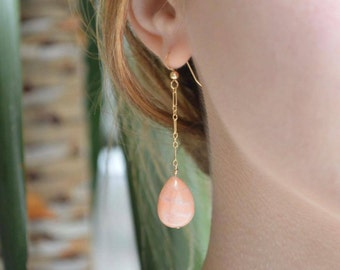 Aventurine Drop Earrings, Gold Drop Earrings, Stone Earrings, Drop Chain Earrings, Chain Earrings, Aventurine Earrings, Dangle Earrings