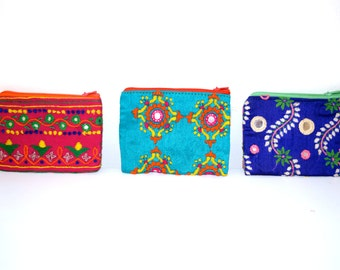 Handmade Indian embroidery coin purses
