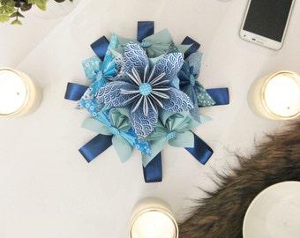 Origami Custom Blue Patterns Kusudama Paper Flower Table Decoration
