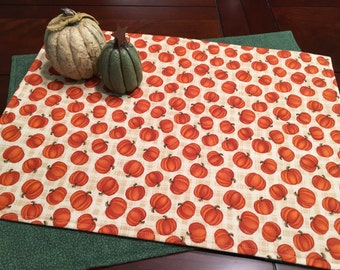 Pumpkin Placemats - Set of 4 Placemats - Autumn Placemats - Thanksgiving Placemats - Reversible Placemats - Green Placemats