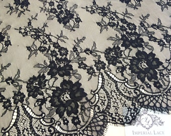 Black chantilly Lace fabric, Wedding lace, black chantilly lace fabric, flower pattern, french  M000020
