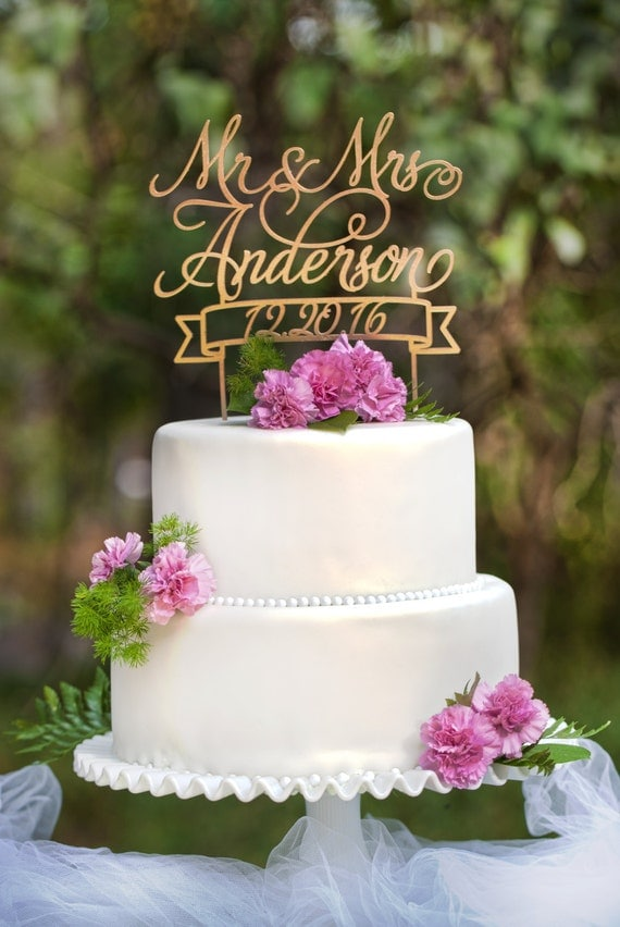 Mr Amp Mrs Custom Name And Date Wedding Cake Topper